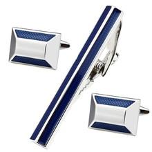 Fabrik Einzelhandel Blau Emaille Silber Mann Hemd Manschettenknöpfe und Krawattenklammern Set für Business und Hochzeit Zubehör