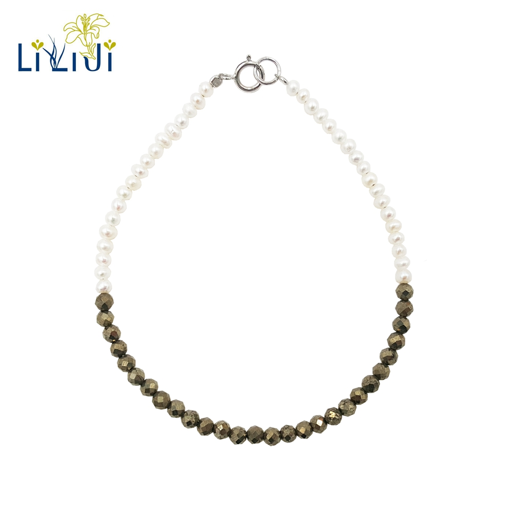 Lii Ji Unique Natural Tiny Real Freshwater Pearl,Pyrite 925 Sterling Silver Shining Bracelet Fashion Jewelry for Men or Women 925 sterling silver shining multiwire shaped women s bracelet