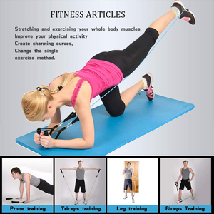 Image 4 - 11 pçs bandas de resistência conjunto expansor yoga exercício de fitness tubos de borracha banda estiramento treinamento em casa ginásios treino elástico puxar corda