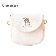 2018 Angelatracy Fashion New Arrival French Dog Japan Style PU Animal  Womens Shoulder BAG Saddle Flap Menssenger Crossbody Bag