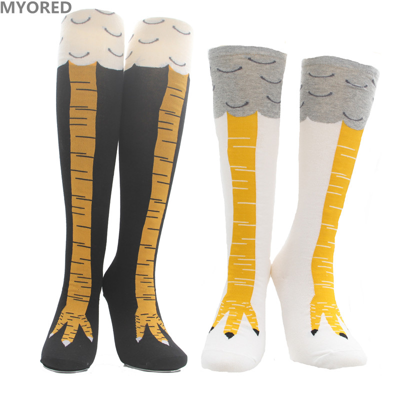 MYORED free shiping women socks 3D funny chicken socks sexy over the knee thigh high long