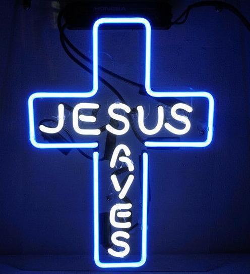 Custom Made Jesus Saves Glass Neon Light Sign Beer Bar