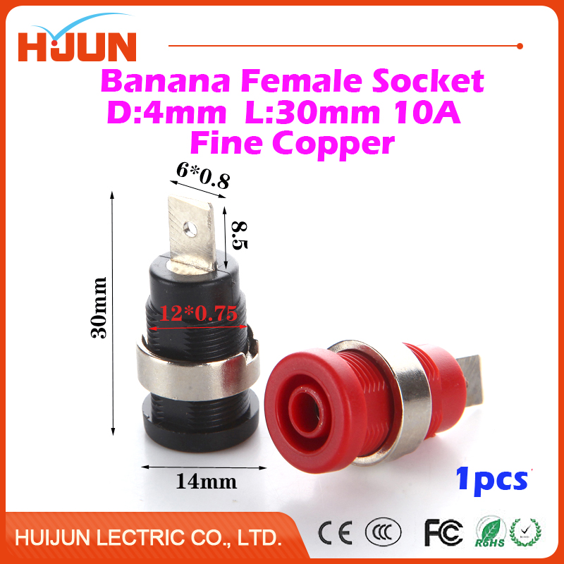 1pcs 4mm 32A Copper Banana Socket Plug Binding Post Audio Speaker Adapter Amplifier Powew Female Terminal Connector Red Black