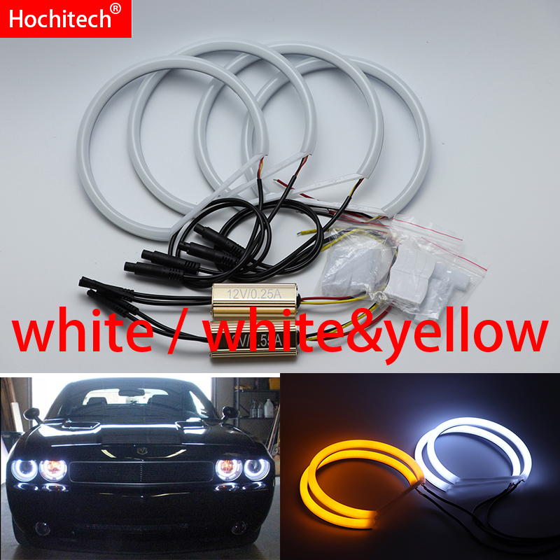 for Dodge challenger 2008 2016 White yellow Cotton LED Angel eyes kit halo ring Turn signal