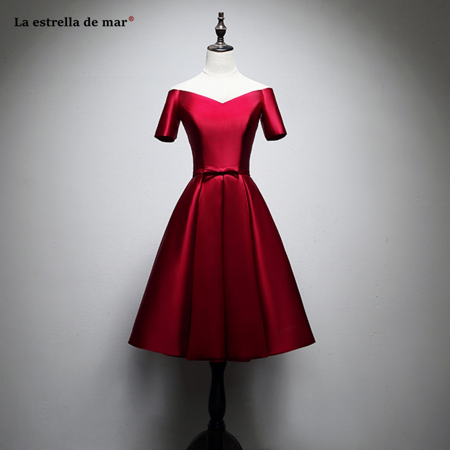 Vestido madrinha 2019 new satin Boat Neck short sleeve burgundy   bridesmaid     dresses   Tea Length wedding guest gown