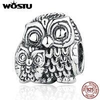 Vintage 100 925 Sterling Silver Charming Owls Charms Beads Fit Original Pandora Bracelet Pendant Authentic Fine