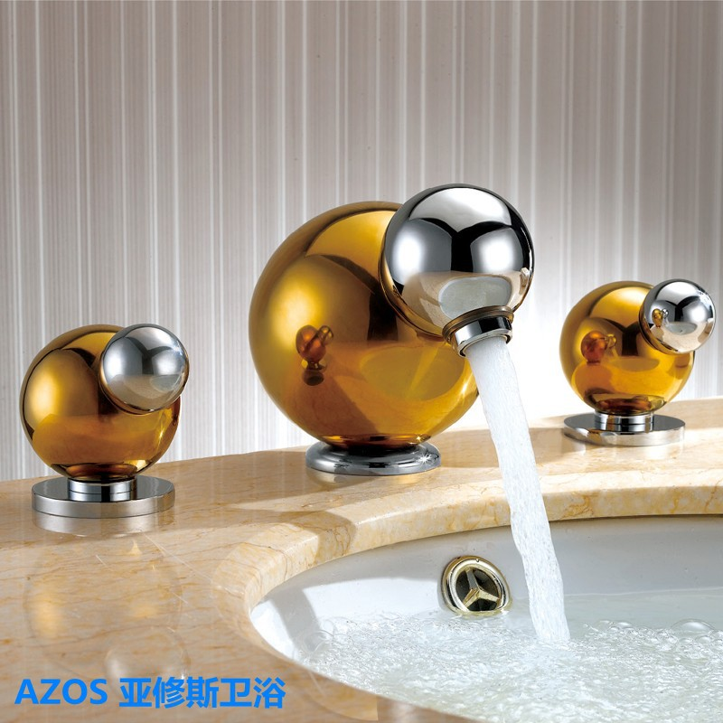 Luxury Deck Mounted Gold Brass Ball style Bathroom Basin Faucet ...