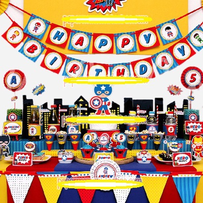 birthday party deco kits for boy party blue super hero batman theme