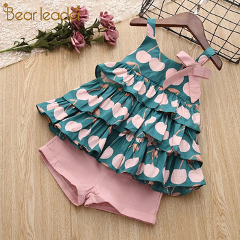 Bear Leader Girls Clothing Sets 2017 Brand Girls Clothes Petal Sleeve Floral Printing T-shirt+Pink Shorts 2Pcs Kids Clothing Set conjuntos casuales para niñas