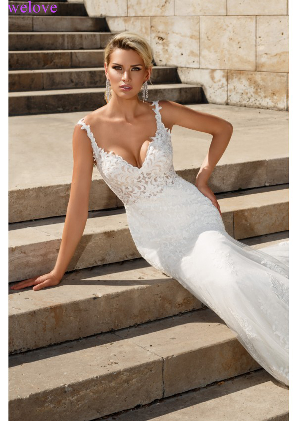 Lace Mermaid Wedding Dresses 2019 Custom Made Appliques fishtail Wedding Gown Vestido de noiva vestidos de fiesta de noche