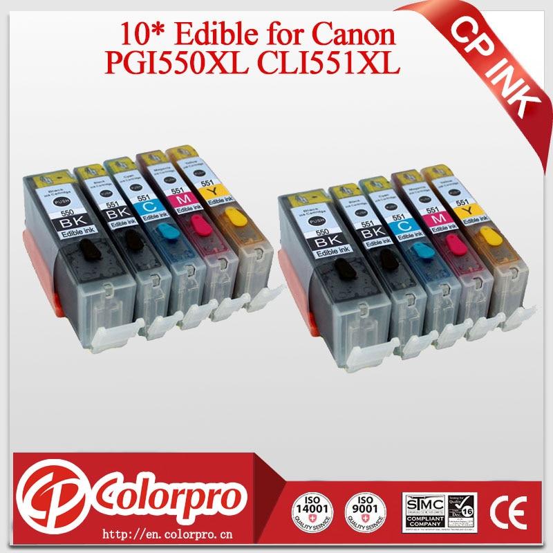 10PK PGI550 CLI551 картридж со съедобными чернилами для Canon PIXMA IP7250 MG5450 MG5550 MG5650 MG6450 MG6650 для Canon PGI 550 PGI550XL