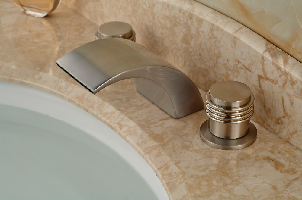 Brushed Nickel Faucet Waterfall Bathroom Spout Sink One: LED Waterfall Spout Bathroom Faucet Nickel Brushed Bsin