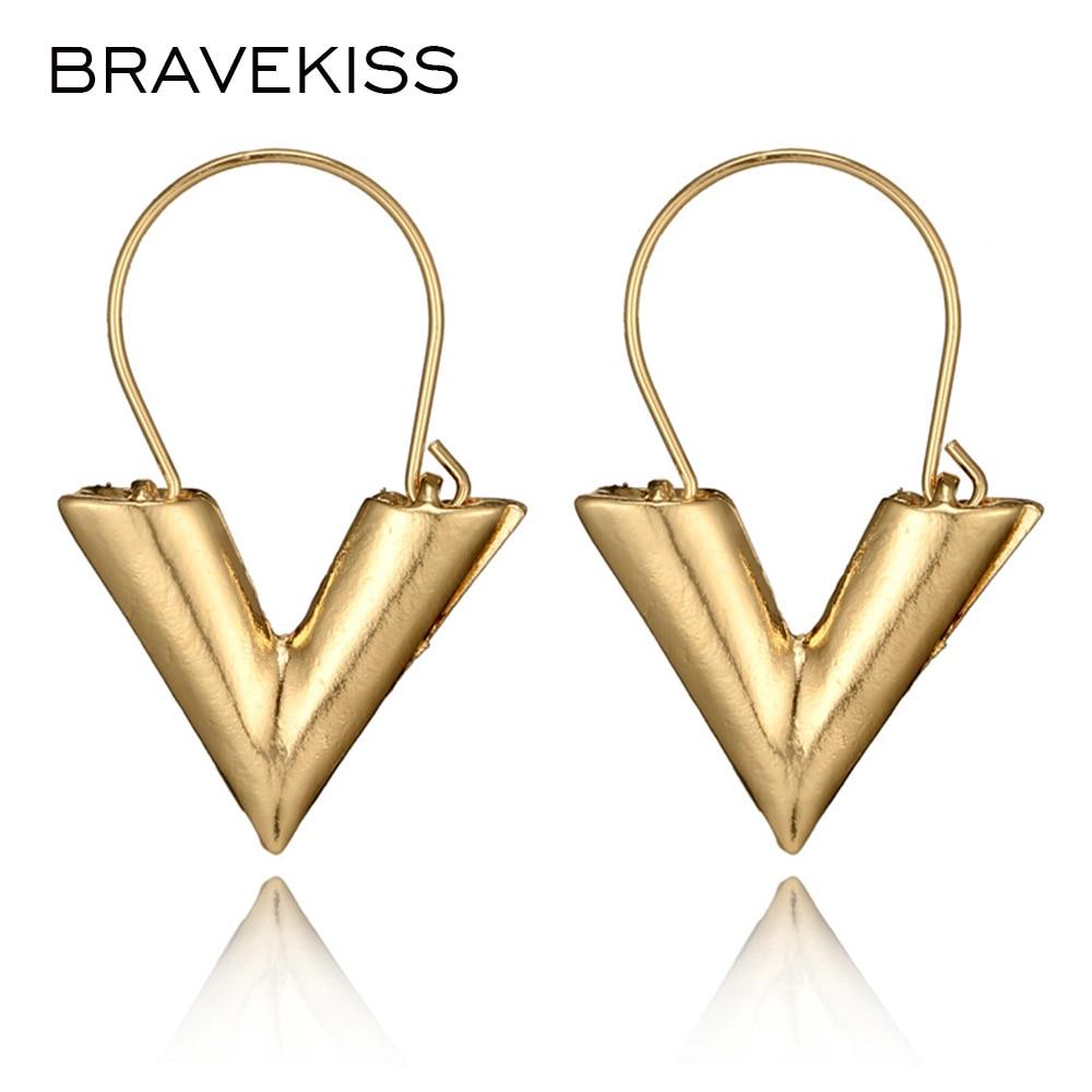 BRAVEKISS Metal V Shape Earrings For Women Retro Letter Chic Earring Bohomia Fashion Jewelry Boucle D'oreille Femme BPE1249