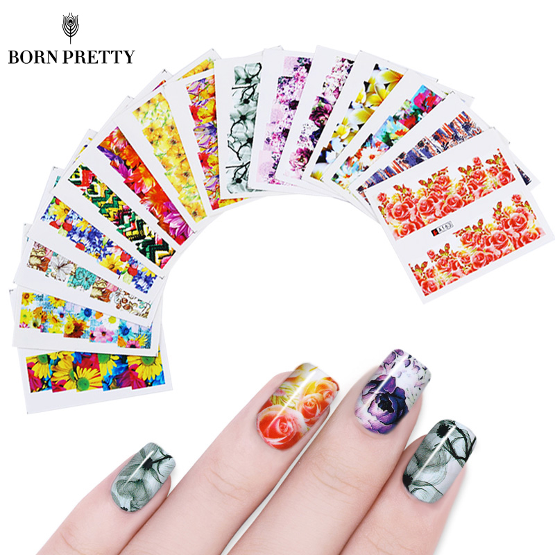 50 Sheets Flower Printing Nail Sticker Water Transfer Set Decal Rose Daisy Manicure DIY Tips Nail Art Decoration 1 sheet beautiful nail water transfer stickers flower art decal decoration manicure tip design diy nail art accessories xf1408