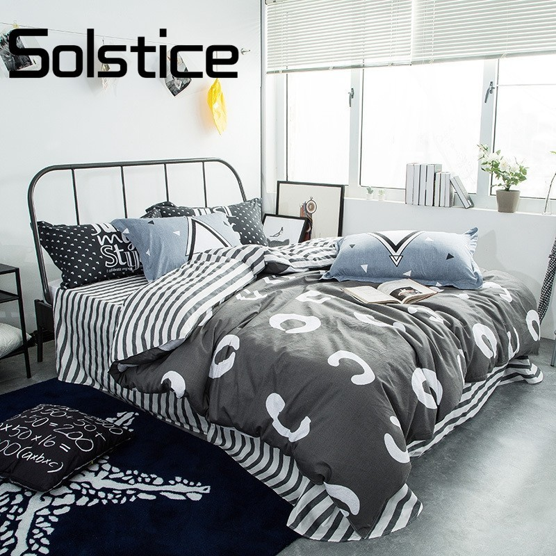 Solstice Home Textile Geometric Print Gray Simple All Cotton Is Fantastic  Full Double Twin Size Duvet Cover Sheet Pillow 30Solstice Home Textile Geometric Print Gray Simple All Cotton Is Fantastic  Full Double Twin Size Duvet Cover Sheet Pillow 30