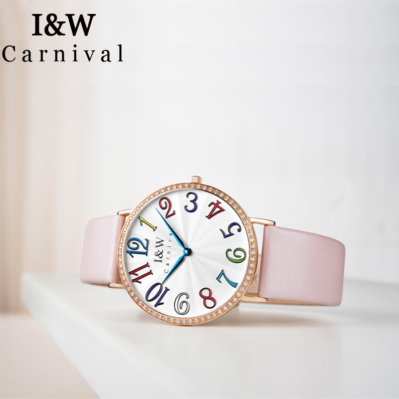 I&W Top Brand Luxury Diamond Quartz Watch Women Carnival Ladies Watches Waterproof Wristwatch Color Number Clock bayan kol saati simple style mesh steel women watches top brand luxury rose gold black ladies quartz hours woman dress watch bayan kol saati