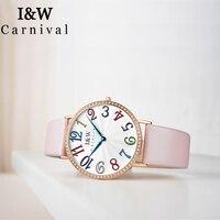 I&W Top Brand Luxury Diamond Quartz Watch Women Carnival Ladies Watches Waterproof Wristwatch Color Number Clock bayan kol saati