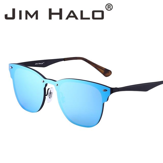 ee128774d8 Jim Halo Mirrored Rimless One Piece Horned Rimmed Metal Square Sunglasses  Women Men Frameless Sun Glasses Female Male Eyewear