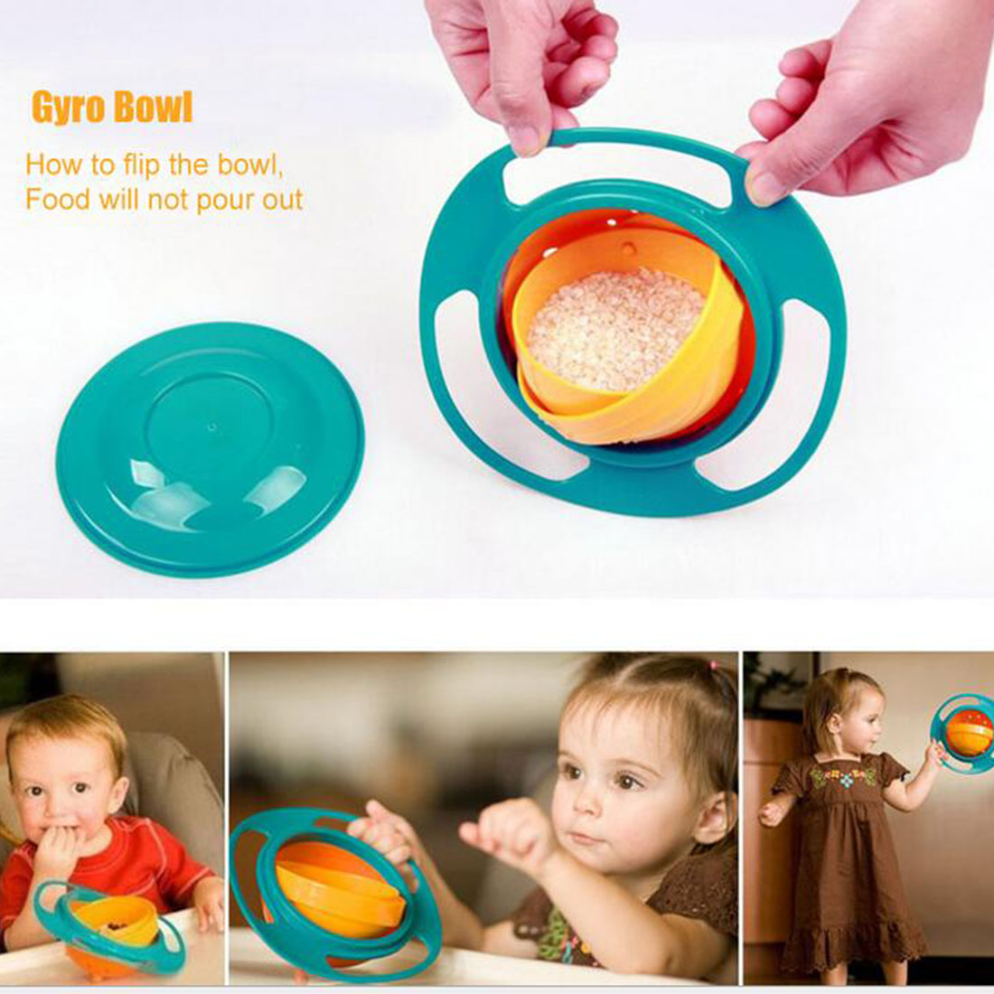 Universal 360 Rotate Spill-proof Bowl Dishes High Quality Children Kid Baby Toy Dishes Solid Feeding