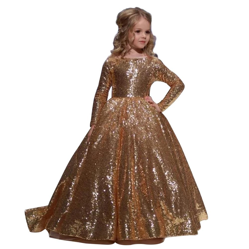 Gowns For Women: Gold Little Girls Dresses Floor Length Ball Gowns For Kids