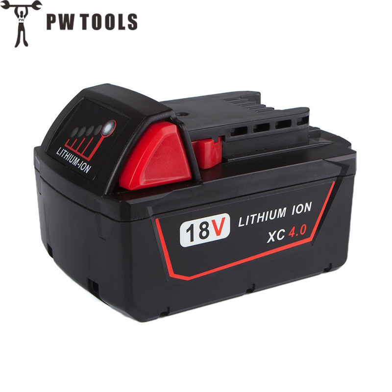 PW TOOL M18 18 V 4.0 Ah Power Tool Lithium Battery Large Capacity Long Life Fast Charge Battery for Power Tool Accessories bruder мини погрузчик гусеничный cat с ковшом 02 136