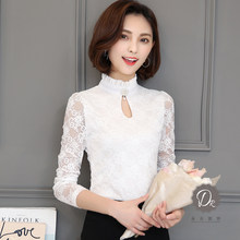 2019 Autumn Women Lace Blouse Long Sleeve Fashion Blouses and Shirts Crochet Blusas Casual Female Clothing Plus Size Femme Tops(China)