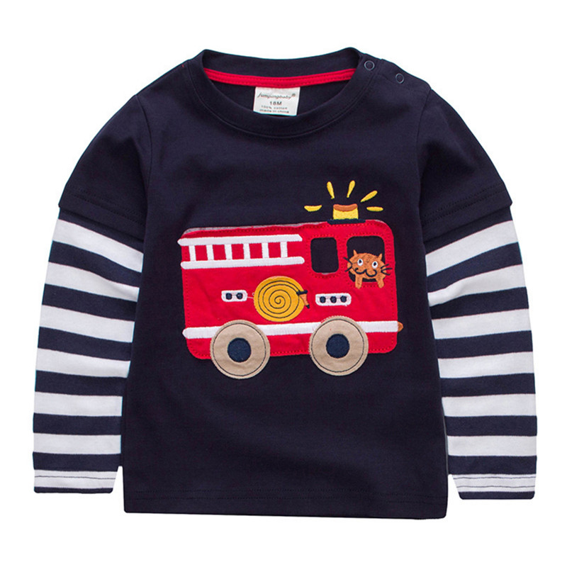 jumping meters 2018 new T-shirts boys Long Sleeve striped applique car Tops Kids T shirt spring autumn winter Children Clothes contrast lace applique t shirt