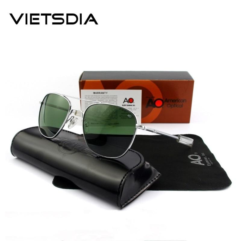 4a6b3d3bf3b AO Pilot Sunglasses Army MILITARY 2019 Men Brand Designer American Optical  Glass Lens Sun Glasses Oculos De Sol Masculino UV400-in Sunglasses from  Apparel ...