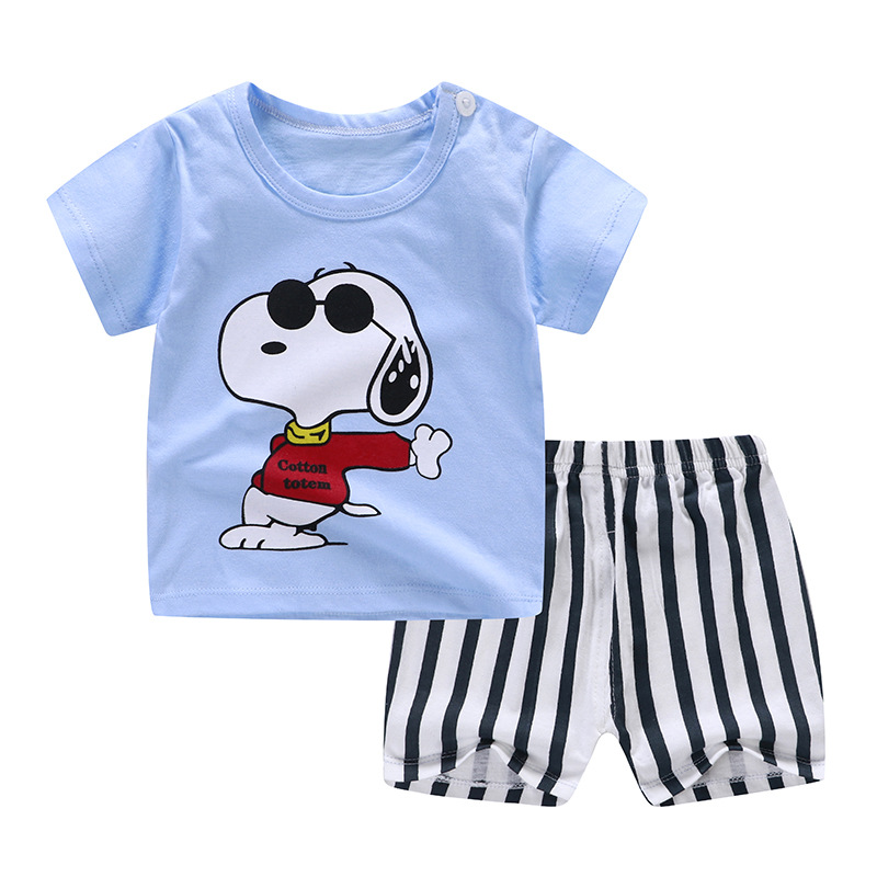 Snoopy Fashion Baby Boy Summer Clothing Sets Cartoon Pattern Baby Girl Clothing Outfits