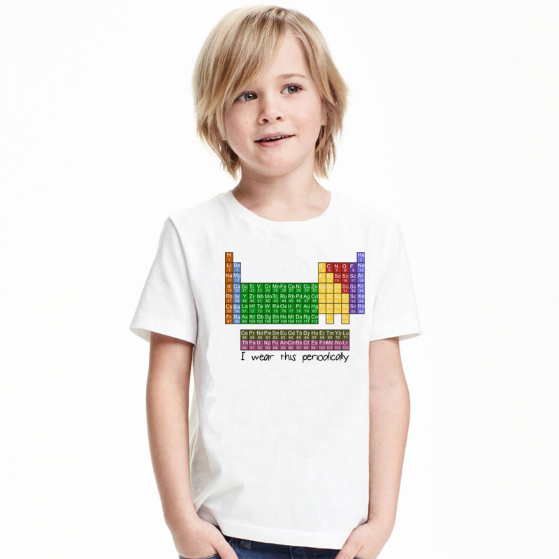 CT0027 I Wear This Periodically Childrens Tee Shirt Periodic Table Print Funny Kids Tops