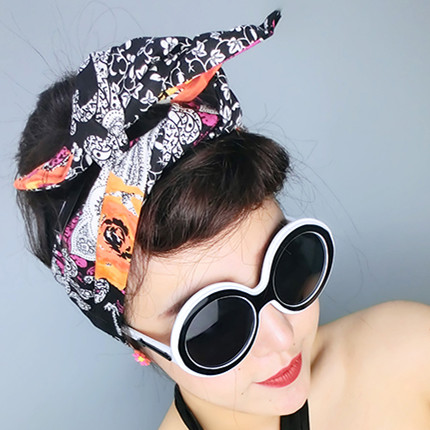 US $15 0  1950s women vintage rockabilly pin up vb orange black floral  print headband hairband hair head bands accessories bow rabbit ear-in  Women's