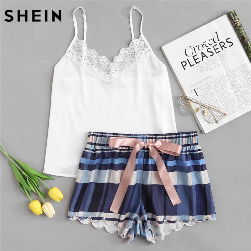 Detail Feedback Questions about SHEIN Lace Spaghetti Strap Cami & Scalloped  Plaid Shorts Pajama Sets Women Sleeveless Casual Nightwear 2018 Girl School  2 ...