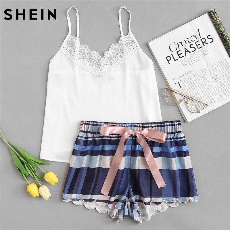 SHEIN Lace Spaghetti Strap Cami & Scalloped Plaid Shorts Pajama Sets Women Sleeveless Casual Nightwear 2018 Girl School 2 Pieces