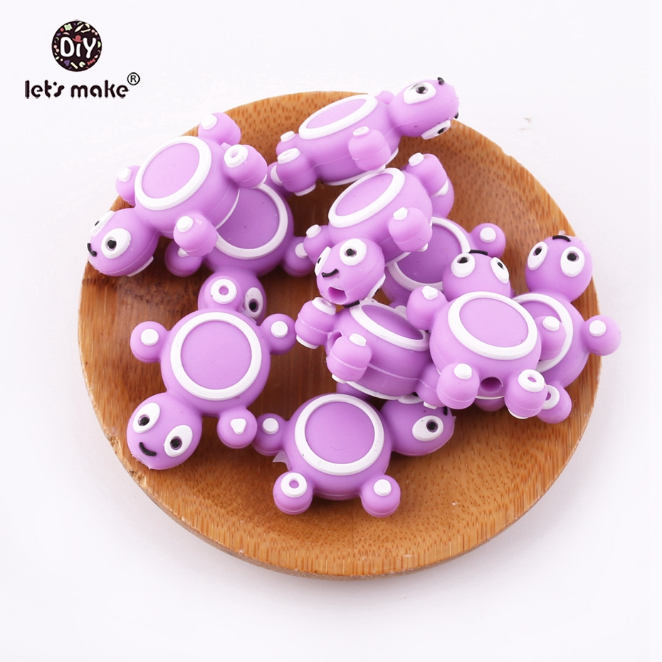 Let's Make Purple Mini Tortoise Shaped 5pc BPA Free Silicone Beads Lovely Diy Boys And Girl Necklace Accessories Cartoon Teether