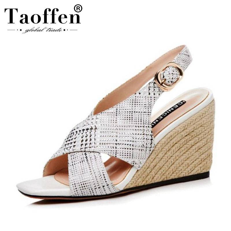 TAOFFEN Young Office Ladies Real Leather Fashion Simple Sandals Wedges Buckle Daily High Heel Shoes Women Gladiator Size 34-39TAOFFEN Young Office Ladies Real Leather Fashion Simple Sandals Wedges Buckle Daily High Heel Shoes Women Gladiator Size 34-39