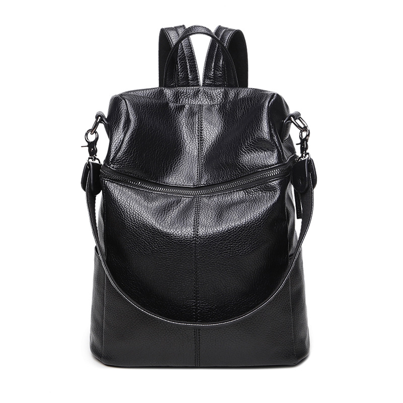 2017 Korean fashion Women Soft Leather Back bag retro large capacity multi Faction Shoulder Bag school