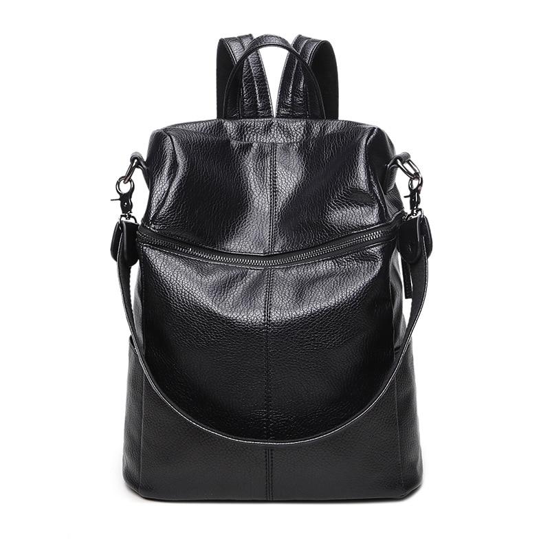 f9b5a28a3f40 ... student schoolbag retro rucksack · 2017 Korean fashion Women Soft Leather  Back bag retro large capacity multi-Faction Shoulder Bag