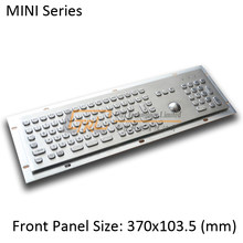 MINI 103 keys stainless keyboard with optical trackball and numeric keypad, mini metal trackball keyboard, mini kiosk keyboard(China)