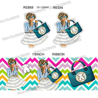 printed cartoon Fashion girl grosgrain ribbon and resin sets 7/8inch 50yard ribbon and 50pcs resin 1 set REB69
