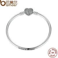 BAMOER 17CM 19CM 21CM 925 Sterling Silver Love Heart Chain Snake Bangle DIY Original Jewelry PAS905