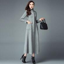 2016 New Fashion Winter Women's Overcoat Korean Long Sleeve Slim Stand Collar Cashmere Outwear Slim Waist Female Woolen Coats