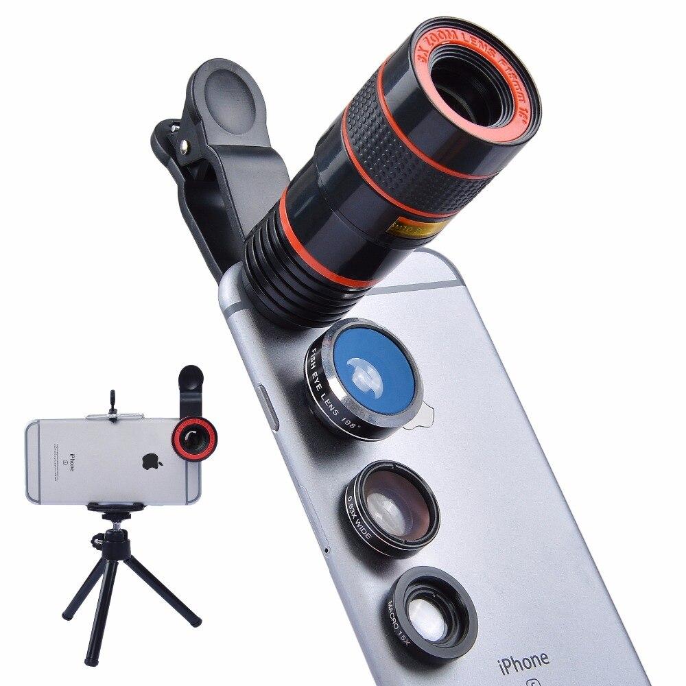 imágenes para APEXEL smartphone lente de la cámara Teleobjetivo Telescopio Del Zumbido 8X Para el iphone Samsung HTC xiaomi Huawei Teléfono Móvil Con trípode