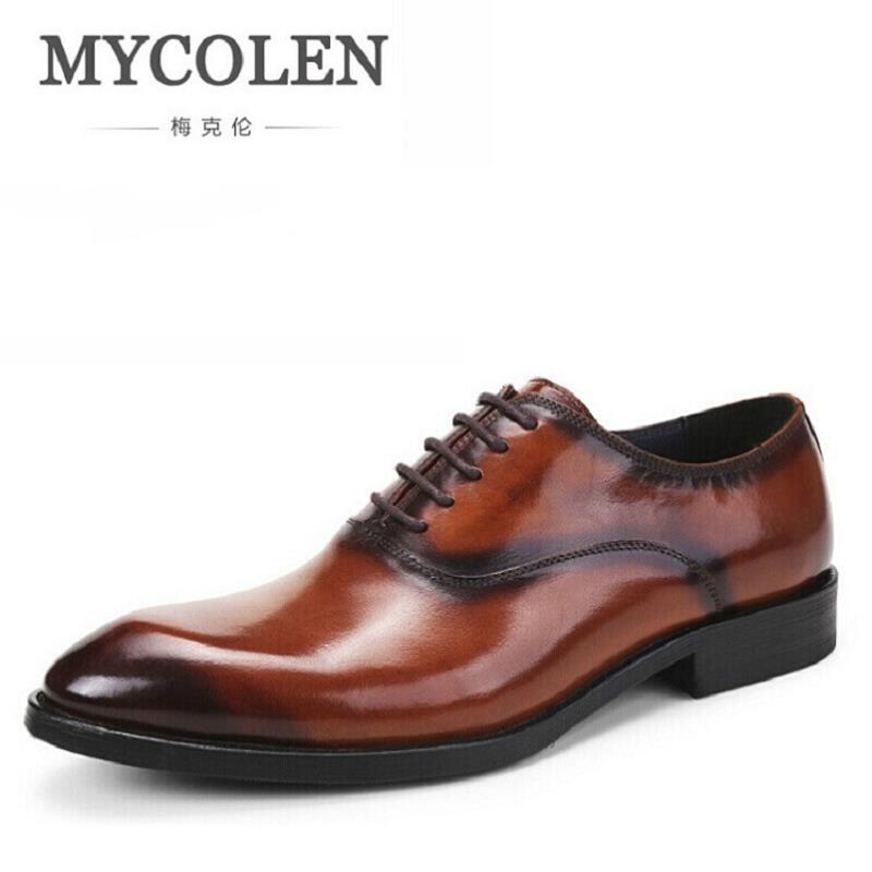 MYCOLEN New 2017 Oxford Business Shoes For Men Leather Office Dress Shoes Chaussure Homme Autumn Black Elegant Mens Oxfords top fashion shoes men mens canvas shoe chaussure homme leather business breathable spring autumn solid medium b m flat lace up
