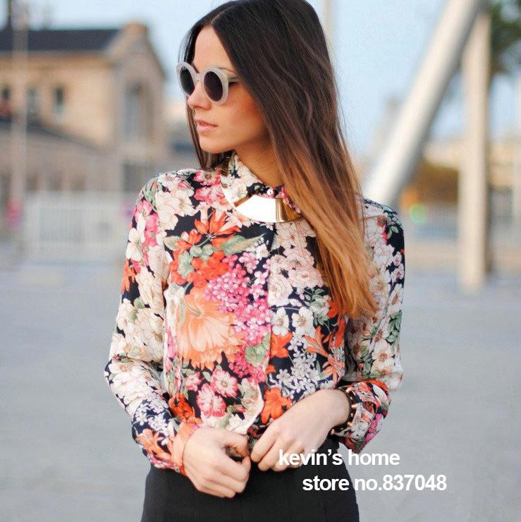 New fashion women's Vintage Floral print Lapel shirt blouse Retro ...