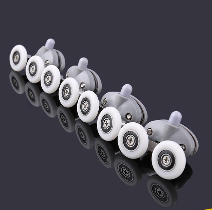8x Twin Shower Glass Door 4 Top / 4 Bottom Rollers Runners Wheels Pulleys 23mm/25mm
