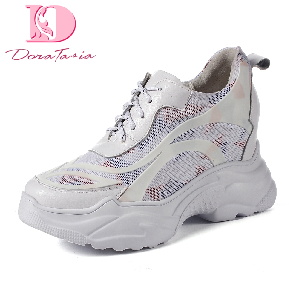 Doratasia 2018 Genuine Leather white sneakers women shoes Cow Leather Lace Up Vulcanize Shoes Woman Platform Woman Shoes msfair 2018 cow leather skateboarding shoes woman brand genuine leather women sport shoes rhinestone white sneakers for ladies