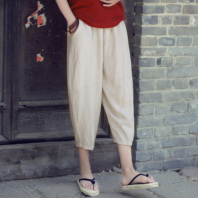 Solid White Beige Elastic waist Linen Women Harem   Pants     Capris   Loose Casual Summer Bloomers   Pants   Vintage Linen Trousers C118