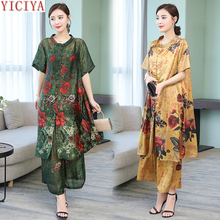 купить Women Plus Size Loose Casual Two Piece Wide Leg Pant Set and Long Top Female Co-ord Set Print Floral Outfit Green Summer Clothes дешево