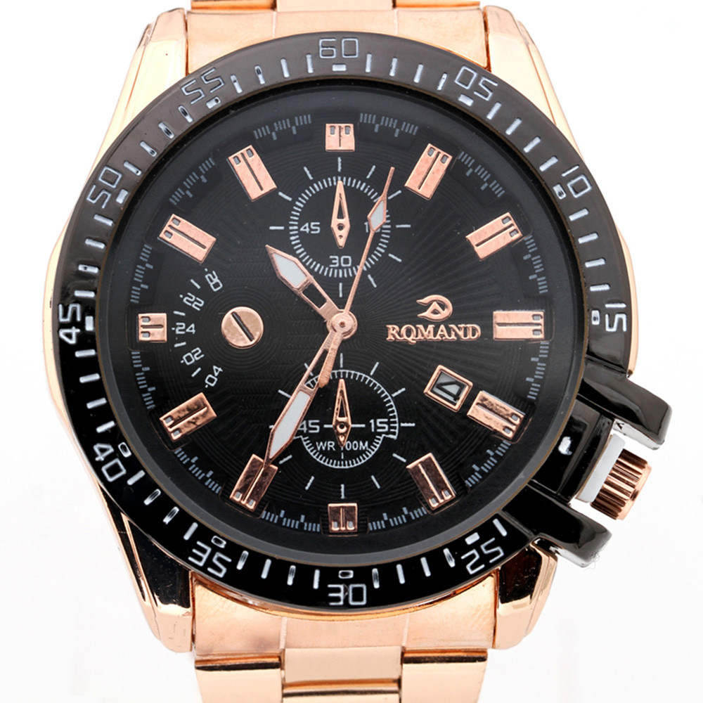 2018 Hot Product Luxury Mens Black Dial Gold Stainless Steel Date Quartz Analog Sport Wrist Watch bayan saat mens Rose Gold attractive hot sale mens stainless steel case sport black pu leather lcd digital quartz wrist watch sp17