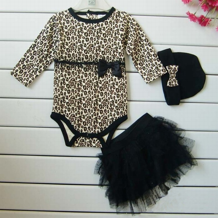 Leopard Baby Girl Clothes 3 PC Sets:Long Sleeved Rompers + Tutu Skirt Dress+Headband(hat) Autumn Kids Girls Clothing Suit hot toddler girl clothing cake tutu skirt and long sleeved rompers suit high quality newborn baby girl sets birthday baby gift